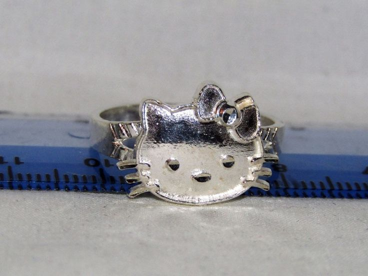 Darling! Hello Kitty Cat Ring 925 Sterling Silver Size 8.75 #Statement