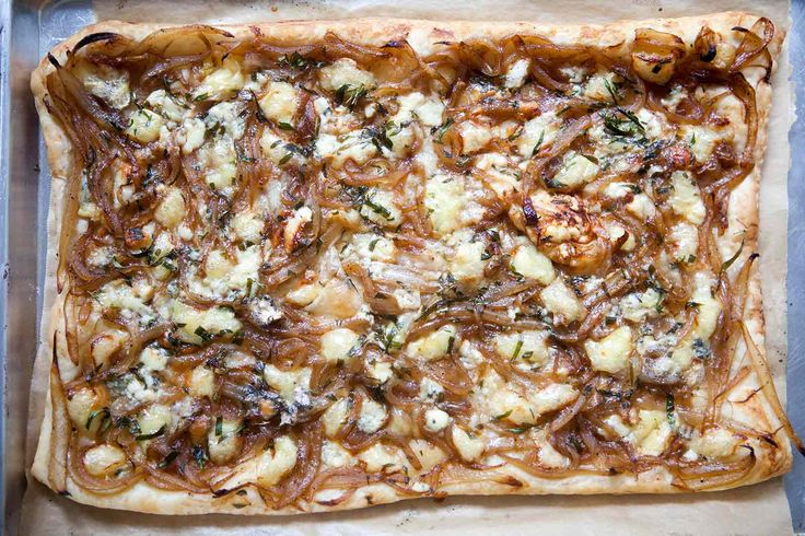 Caramelized Onion Tart, a crispy savory tart made with puff pastry ...