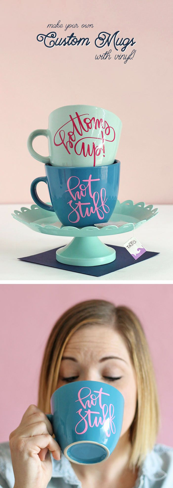 So cute! Learn how to make your own DIY personalized mugs with adhesive vinyl. Free cut files with detailed instructions