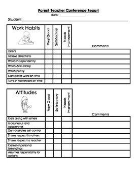PARENT TEACHER CONFERENCE FORMS AND SOCIAL QUESTIONAIRE - TeachersPayTeachers.com