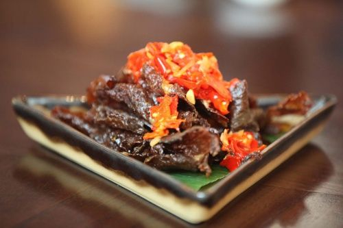 Dendeng Balado (Crispy thinly sliced beef with traditional Padang style chili)
