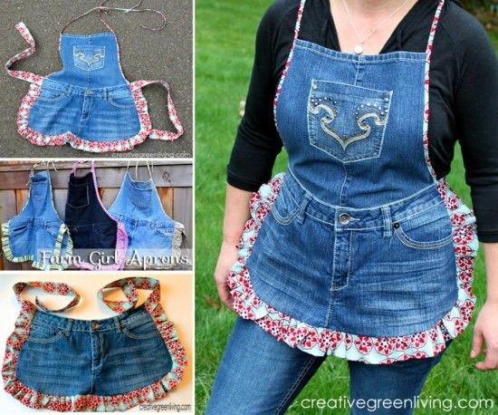 Upside down jeans dress tutorial an easy diy to try jean for Jeans upcycling ideas