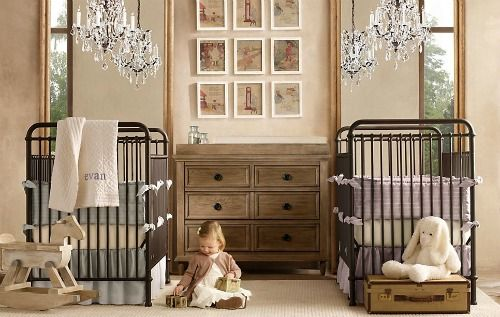 *sigh* for our twins. (love the antique looking cribs)
