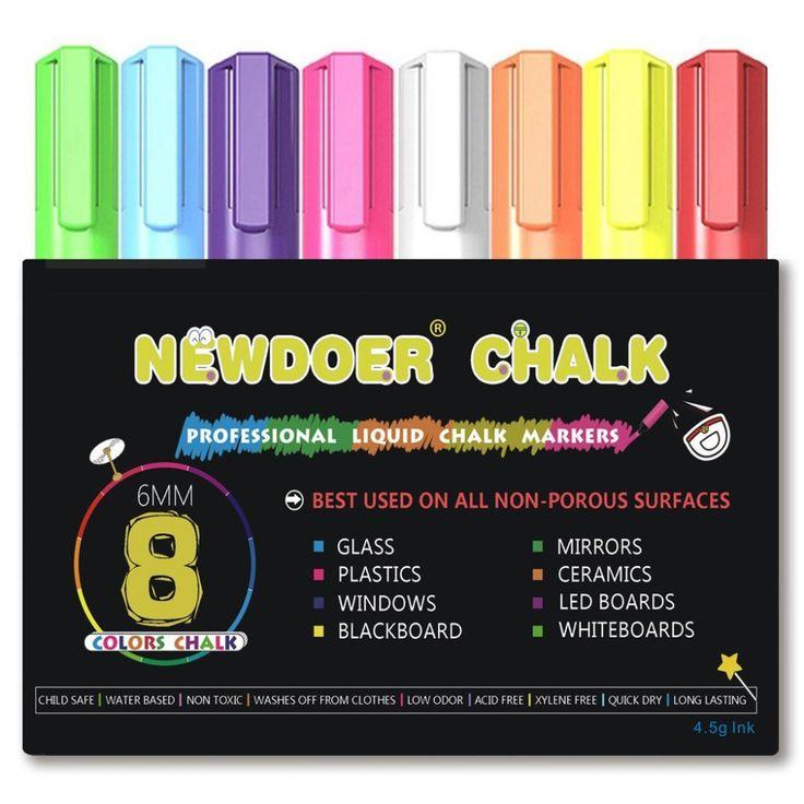 8 Marcadores de Tiza Líquida-Brillante Neón de Color Líquido Tiza Artista Premium Calidad Rotulador Conjunto