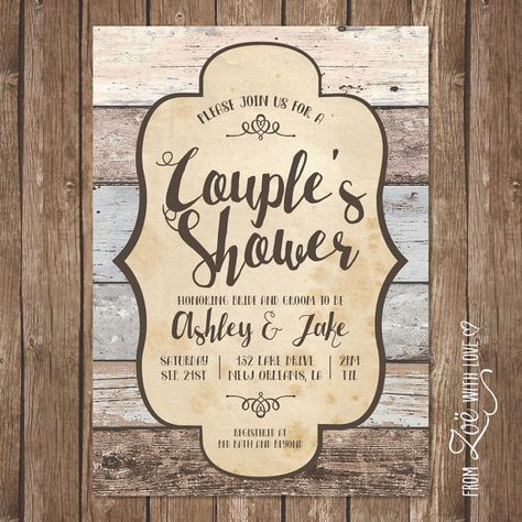 Rustic Couples Shower Invitation Printable by ZoeWithLoveStudio