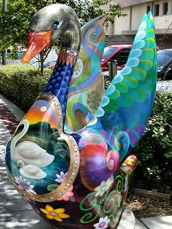 """Swan sculpture in Lakeland, Florida. This was one of many examples from the 2003 public art project in downtown Lakeland, Florida...""""to celebrate one of Lakeland's most well known celebrities, the swan""""."""