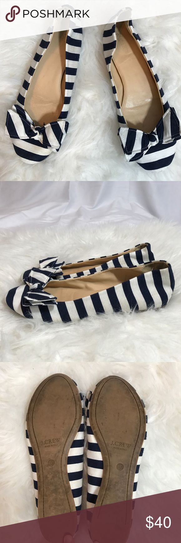 J Crew Striped Bow Flats Ballet flat shoes style with Nautical canvas, black and white Stripes. made in Italy. There is little scuffs as shown on the last picture. J. Crew Shoes Flats & Loafers