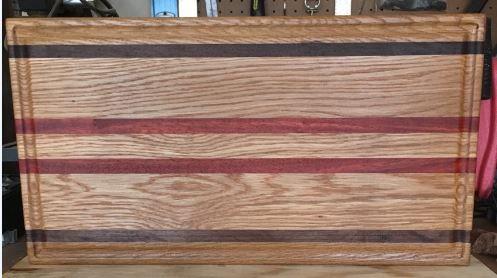 White Oak, Walnut, Paduk cutting board