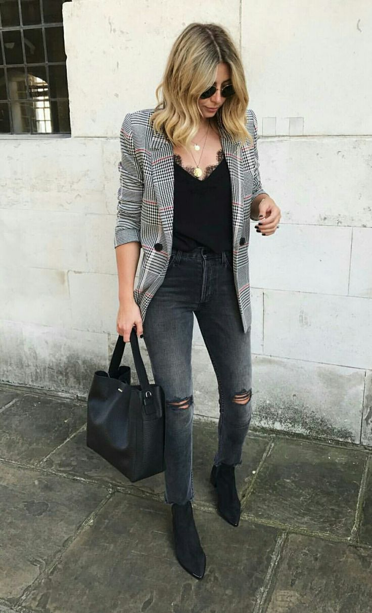 Love the shirt, jeans, and shoes. Could go without the blazer