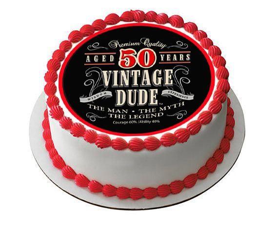 Vintage Dude 50th Edible Birthday Cake Topper OR Cupcake Decor