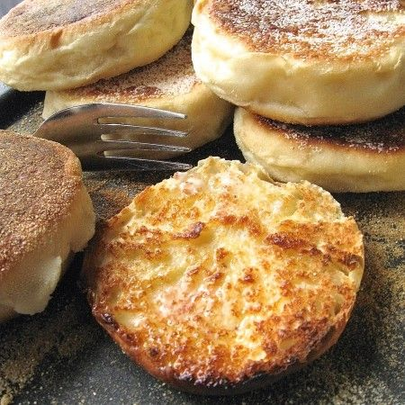 English Muffins: splitting image: King Arthur Flour – Baking Banter  (This is a delicious recipe...I made them for the first time this morning and they turned out wonderful...I put them on my electric grill until both sides turned nice and brown, then put them in 350 oven for 10 min...they got the stamp of approval from both my husband and stepson, so this is a keeper)   WWP+4