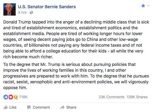 Bernie Sanders is a light in the  darkness