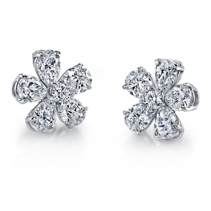 silver shaped available cluster earrings in diamond stud zoom loading