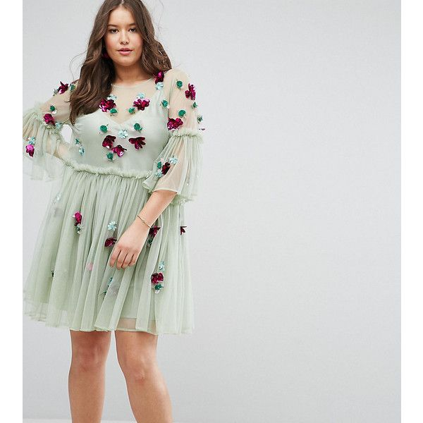 ASOS CURVE Embellished Mesh Fluted Sleeve Smock Mini Dress (53 AUD) ❤ liked on Polyvore featuring dresses, green, plus size, ruffle sleeve dress, green cocktail dress, long-sleeve mini dresses, plus size green dress and short dresses