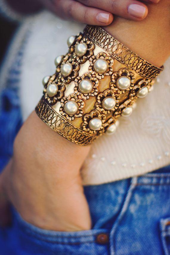 Pearls & Gold #pearls #gold #cuff #jewelry #accessories