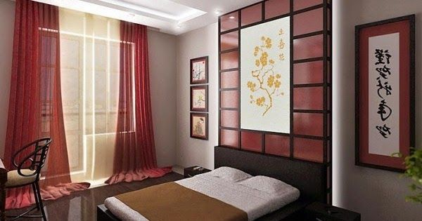 How to make a Japanese style bedroom with the principles of the Japanese interior design principles: Japanese bedroom furniture, platform bed frame, Japanese curtains, lighting, wall decor, flooring and bedroom color schemes