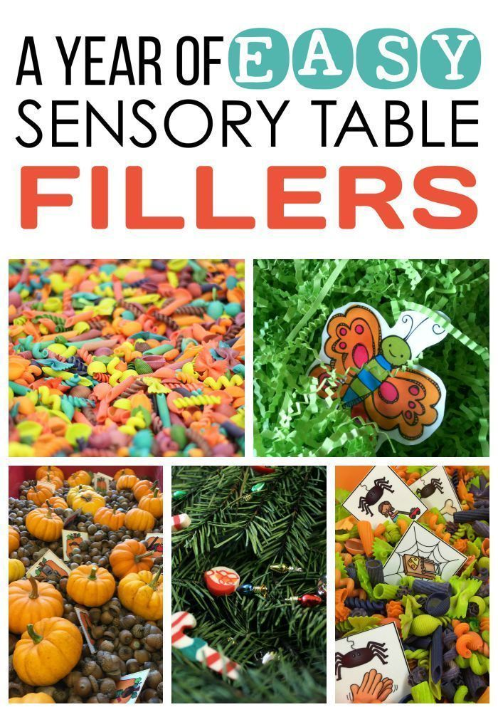 A Year of EASY Sensory Table Filler Ideas and Activities!