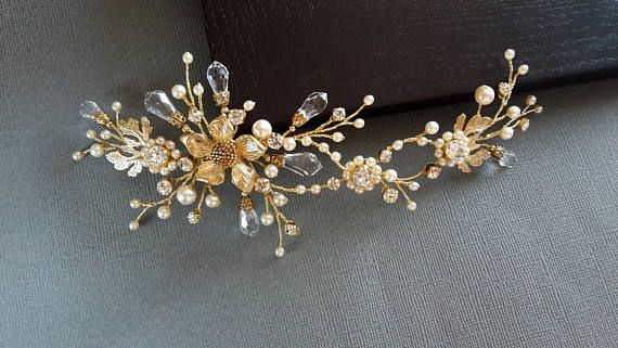 Bridal Headpiece  Bridal hair vine Wedding headpiece Gold hair