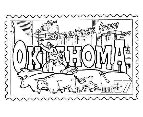 Oklahoma State Stamp Coloring Page