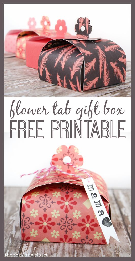 Create your own Flower Tab Gift Boxes out of paper, perfect for small gifts like jewelry for Mother's Day or birthdays!  Party favors, too!  FREE Silhouette cut file and FREE printable template by thinkingcloset.com - - everyone can play.
