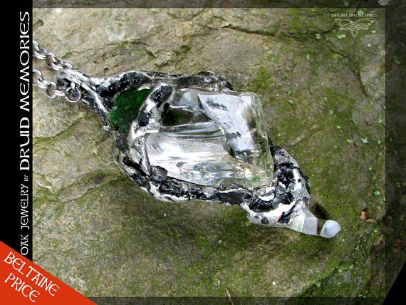 Chrome diopside and quartz pendant Fabianne