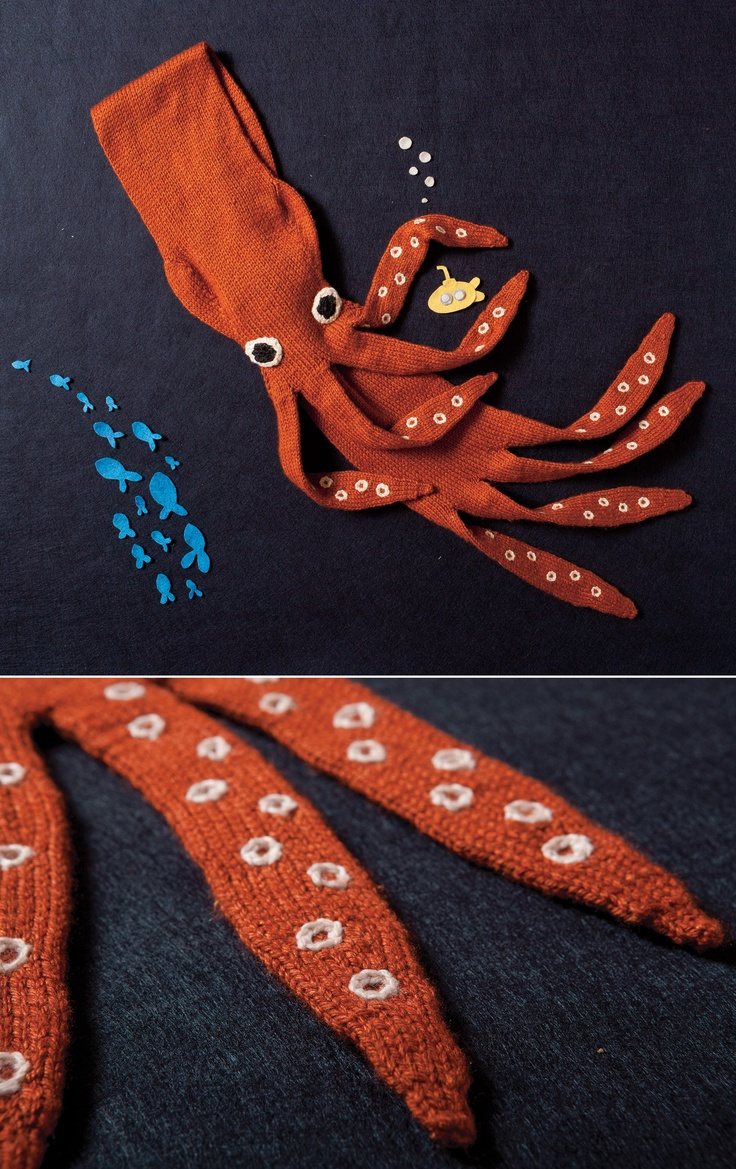 Neck Kraken Knitting Pattern: Forget lush stoles and furs, this year it's all about slimy creatures wrapped around your neck! This entertaining scarf has tentacles in place of fringe, plus a hidden loop on the underside to draw one end through and keep it snug around your neck. Simple joining tricks in the pattern allow virtually no seaming on this one.