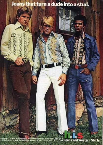 Jeans in 1972. I don't know about the stud business, but these jeans are INFINITELY better than skinny jeans.