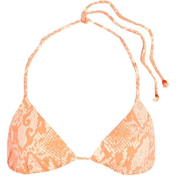 Eberjey Sea Stripe reversible printed triangle bikini top (£45) ❤ liked on Polyvore featuring swimwear, bikinis, bikini tops, pastel orange, triangle swimwear, swimsuit tops, reversible bikinis, orange bikini top and triangle bikinis