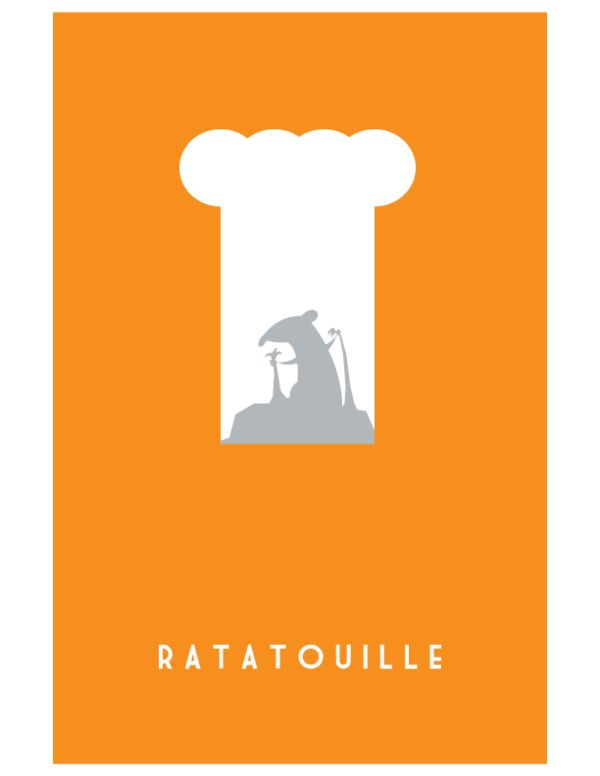 Ratatouille // Pixar Minimalist Movie Posters by Adam Thompson, via Behance