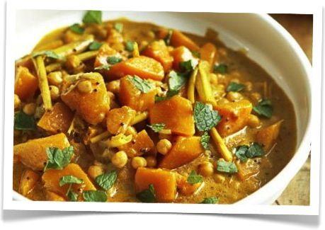 Curry van pompoen en kikkererwten