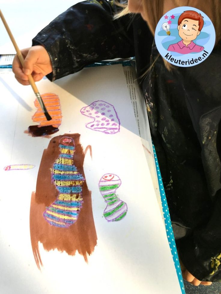 collage met worm, Kindergarten worms craft, kleuteridee.nl 2