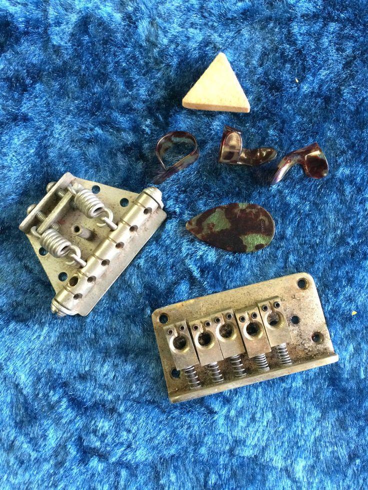 vintage guitar parts brass bridges picks made in japan project parts guitar parts. Black Bedroom Furniture Sets. Home Design Ideas