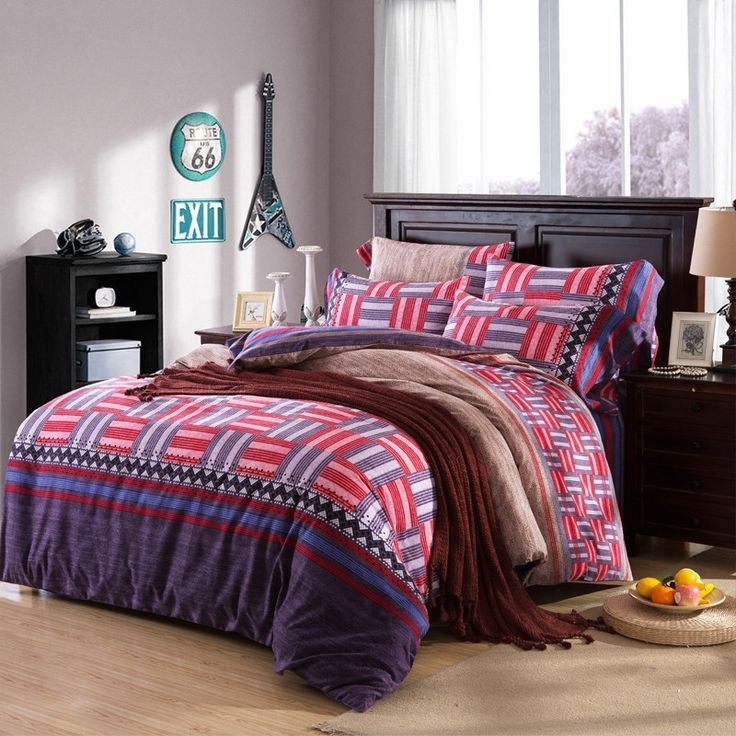 Red Brown and Dark Purple Shabby Chic Patchwork Pattern Abstract Design Southwestern Style 100% Brushed Cotton Full, Queen Size Bedding Sets
