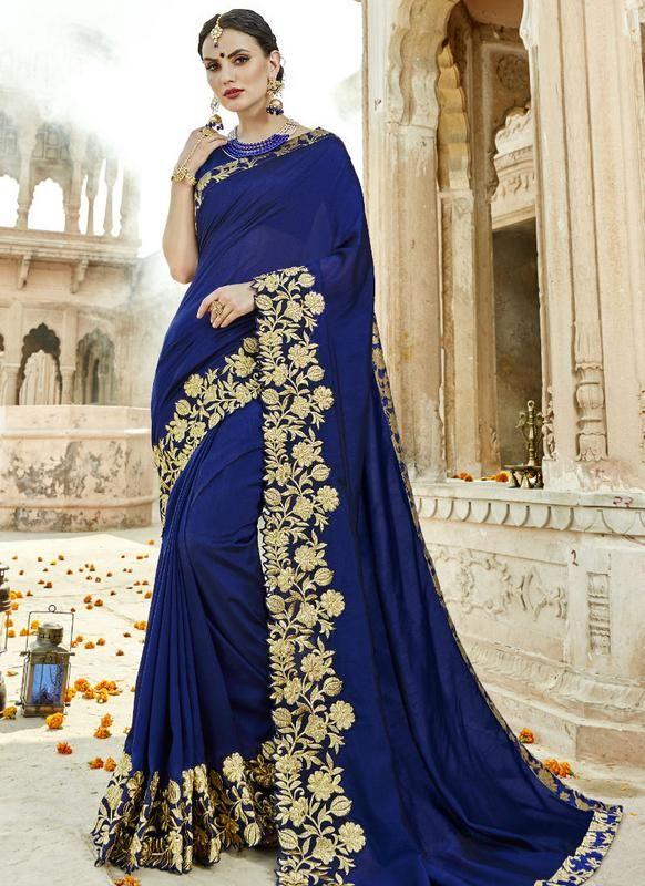 2d253213b6 Lovely Royal Blue Silk Embroidered Work Designer Saree -- miraamall #sarees  #sari #designer #wedding #bridal #saree #sareeblouse #onlineshopping