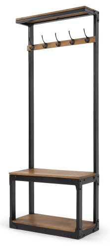 Inspiré des meubles des vestiaires d'école, il apporte à votre intérieur une touche industrielle très actuelle. Le bois de manguier, le métal noir mat et les rivets apparents lui donnent un caractère bien trempé.