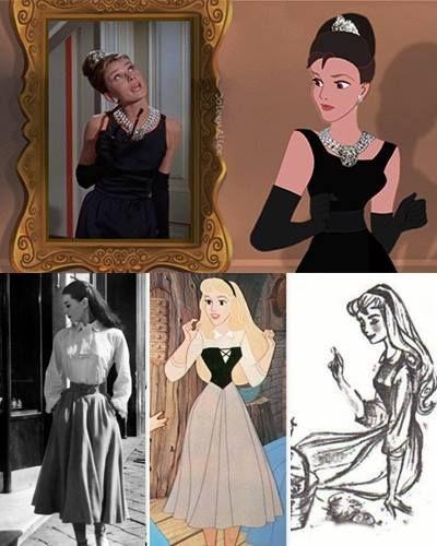 A roupa de camponesa de Aurora foi inspirada na das cenas em que a Princesa Ann finge ser plebeia no filme Roman Holiday. Tom Oreb se inspirou nas características físicas dela, que nos primeiros esboços era mais parecida ainda com Audrey.