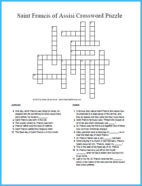 Saint francis of assisi crossword puzzle free printable for St francis of assisi printable coloring page