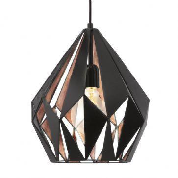 Suspension Carlton 1 Black Copper EGLO 49254 | Pas cher