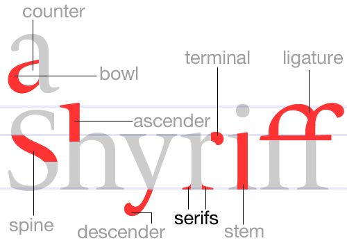 serif-finishing strokes on the arms, stems, and tails of characters. Serif typefaces are used for text since the serifs form a link between letters that leads the eye across a line of type.