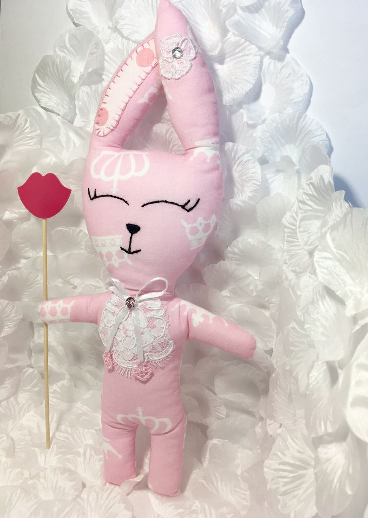 Pink crown print bunny toy! Lace and crystal elements)