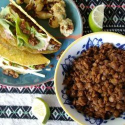 Spiced Lentil Tacos - a super easy, healthy vegetarian or vegan dinner