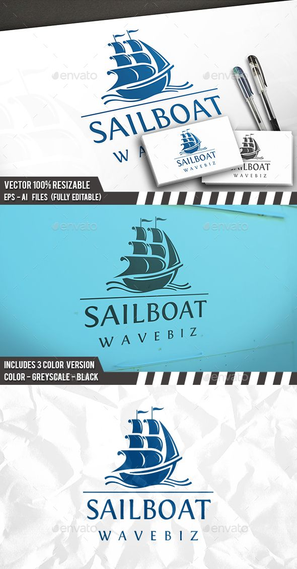 Sail Waves Logo Template PSD, Vector EPS, AI Illustrator