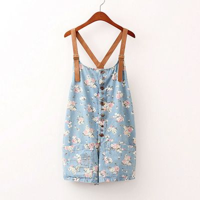 Vintage flower denim leather braces shorts flower blue suspender shorts $26.90