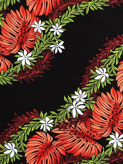 Monstera Tiare Maile Lei Red&Black Poly Cotton WU-15-30