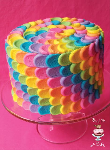 Rainbow Petal Cake ~ there is a link on the page if you want to learn how to do this decorating technique