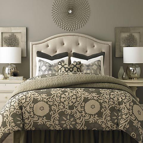 layout  1.) starburst above headboard 2.) 2 framed or mirrors above nightstands 3.) mercury glass lamps w/ cream shades