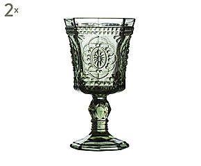 Set van 2 wijnglazen Goblet, H 17 cm