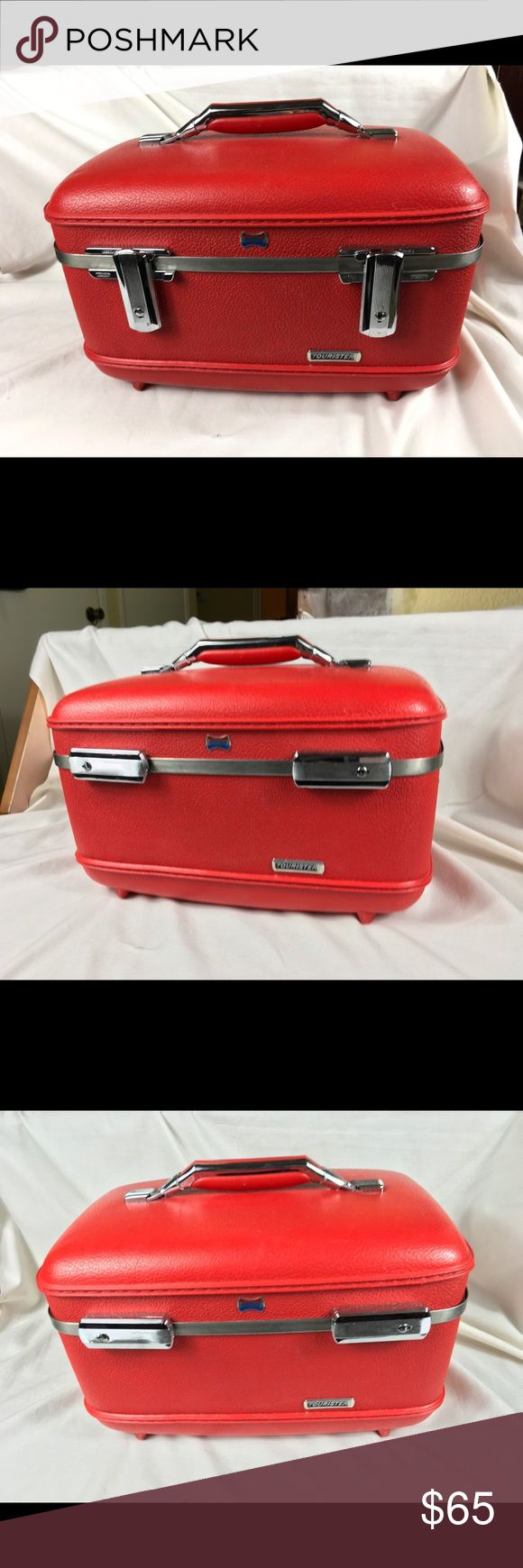 """Vintage Red American Tourister train case 1960s hard shell Red Train case by American Tourister for Samsonite. It has the tray and mirror. This vintage treasure is in decent shape with some stains and marks (see pictures for details). This is a beautiful red case, highly collectable and hard to find! 15"""" long x 9 1/2"""" wide x 8 1/2"""" tall American Tourister Bags Travel Bags"""