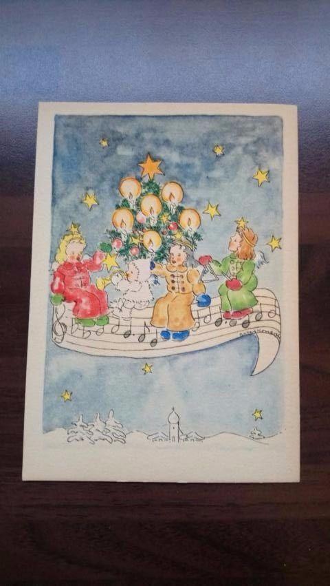 AK, Weihnachten, Musik-Engel, Weihnachtsbaum, 40er-50er Jahre, Künstlerkarte