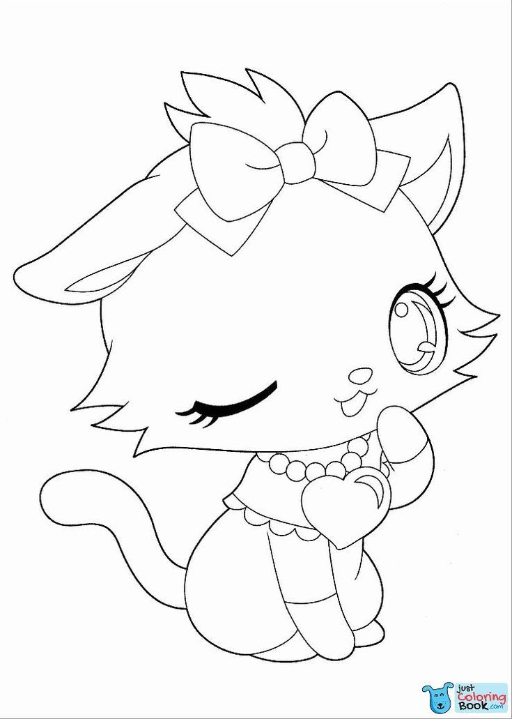 Anime Cat Coloring Page For Girl Coloringbay Regarding Anime